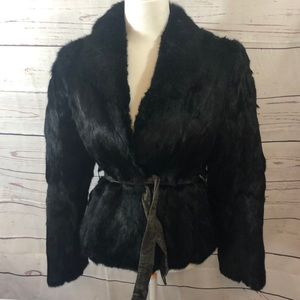 Vintage Black Dyed Rabbit Fur Coat